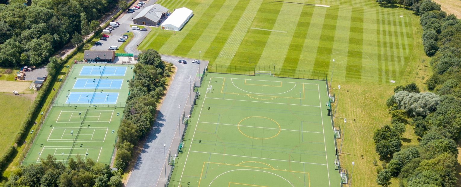 tennis courts and football pitch