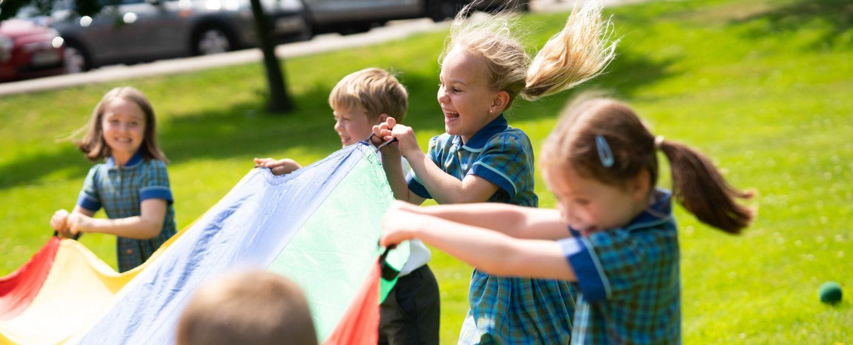 school children playing outdoors