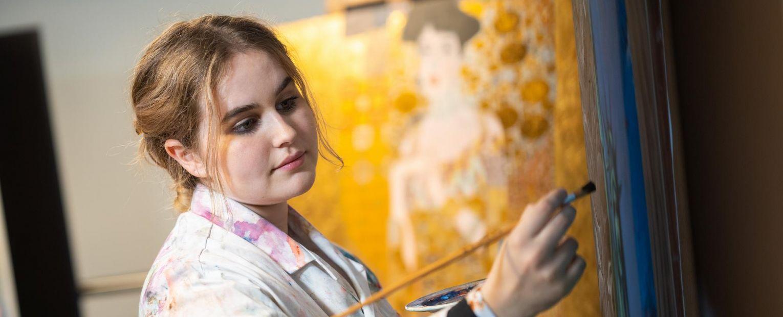 school girl painting